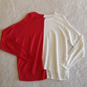 🆕 Trouve | Cozy Red & White Color Block Sweater